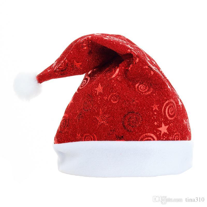 Santa Hat Winter Теплое Рождество High-Grade плюша взрослых Hat Утолщение мягкий плюш Рождество Hat Xmas орнамент украшения 120pcs T1I2655