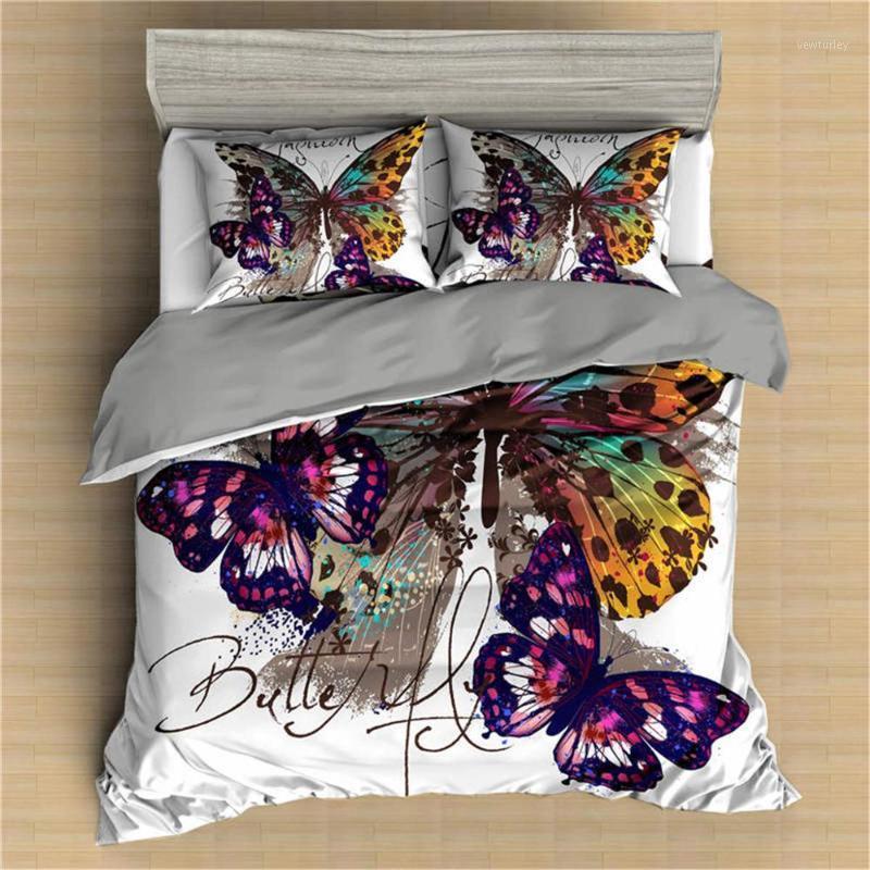 Conjuntos de ropa de cama BONIU 3D Butterfly Almohada Impreso Conjunto de almohada Casa Textil Edredón Reina King Tamaño Cubierta de edredón con funda de almohada ropa de cama1