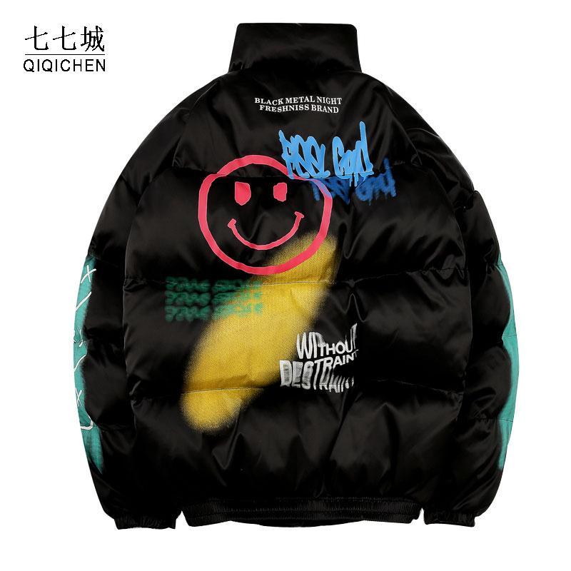 Imbottito in cotone parka Uomini graffiti Stampa palla Streetwear Hip Hop casuale spessore caldo Giacche Cappotti inverno maschio Windbreaker