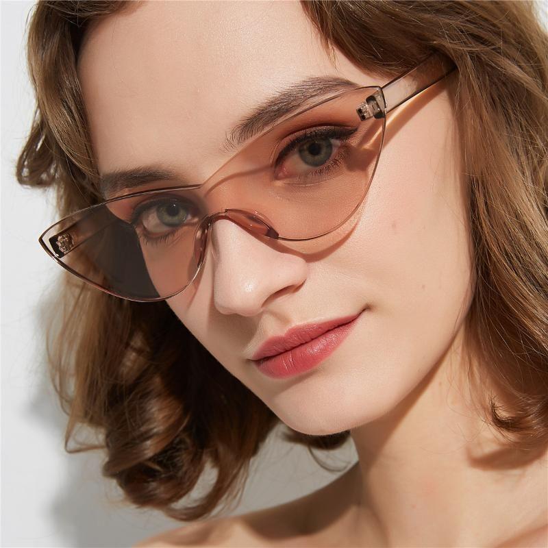 Tono sin marco Moda Gafas de sol Color Gafas de sol Ojo 2020 Sexy Siamese Retro Amarillo Mujer Mujer Lente Cat Ruatv