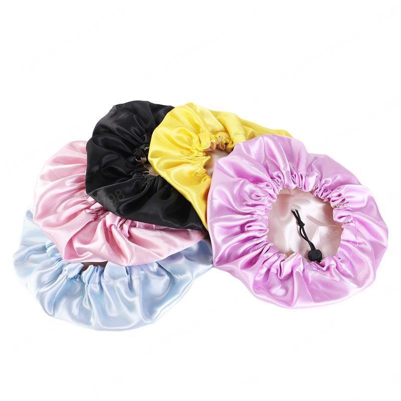 9 couleurs Mode pour enfants Bonnet Satin Baby Girl Satin Nuit Soin des cheveux double couche souple Tête couverture Wrap sommeil Casquettes Bonnets enfant en bas âge