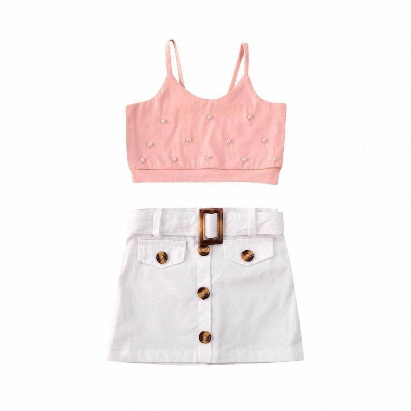 2020 2020 Bebek Çocuk Kız bebekler Yaz Kolsuz Patchwork Yelek + Düğme Kısa Etek Yaz Pembe Beyaz Kıyafetler Qxxl # Tops