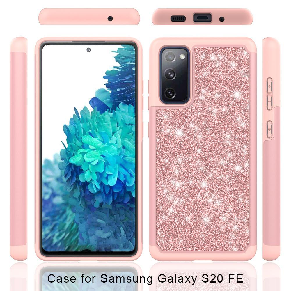 Glitter Bling Hybrid case for Samsung S10 S10e S9 S20 FE Note 20 Plus J2 J5 Grand Prime J3 J7 2018 Shockproof cover