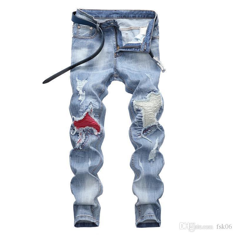 Pieghe Biker Jeans Hi Via Patchwork moto denim degli uomini di modo MORUANCLE pantaloni da uomo rattoppato Moto Jeans più il formato 28-42