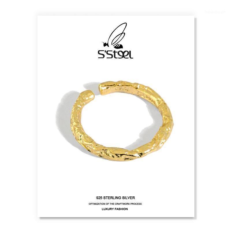 S'STEEL Korean Ring For Women 925 Sterling Silver Minimalist Gold Irrenguar Round Opening Rings Bijoux Femme 2020 Fine Jewelry1