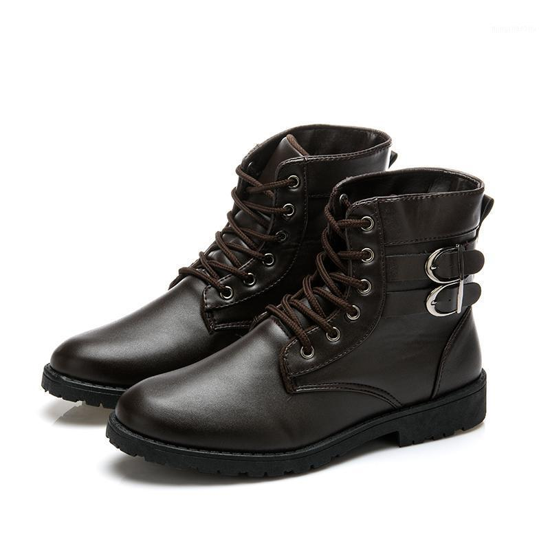 أحذية رواج أزياء الرجال بو الجلود الدانتيل متابعة الأحذية الذكور خمر البريطانية دراجة نارية الخريف عارضة الأحذية 1