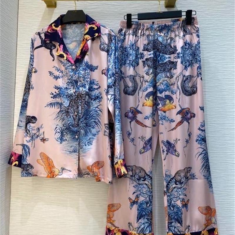 2021 осень женские цветочные пижамы определяют с длинным рукавом одиночные + эластичная талия толстовка узема