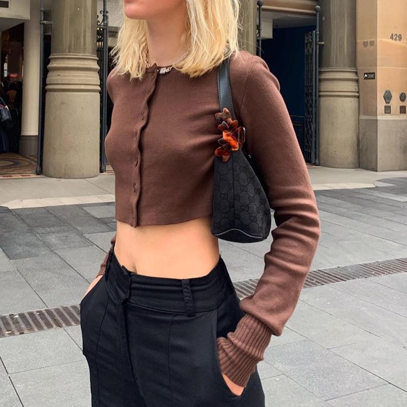 İndie estetik kahverengi kadın tişörtleri örgü mahsul tops düğme yukarı uzun kollu rahat Y2K temel streetwear 2021 yeni trendy e kız tee