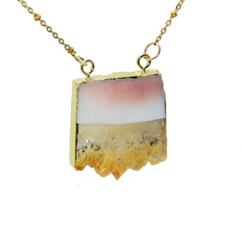 Moda Boho Jewelry Piedra Collar Cristal Amarillo Cuarzo Geode Druzy Women Collar Rectángulo Natural Cuarzo Rebanada