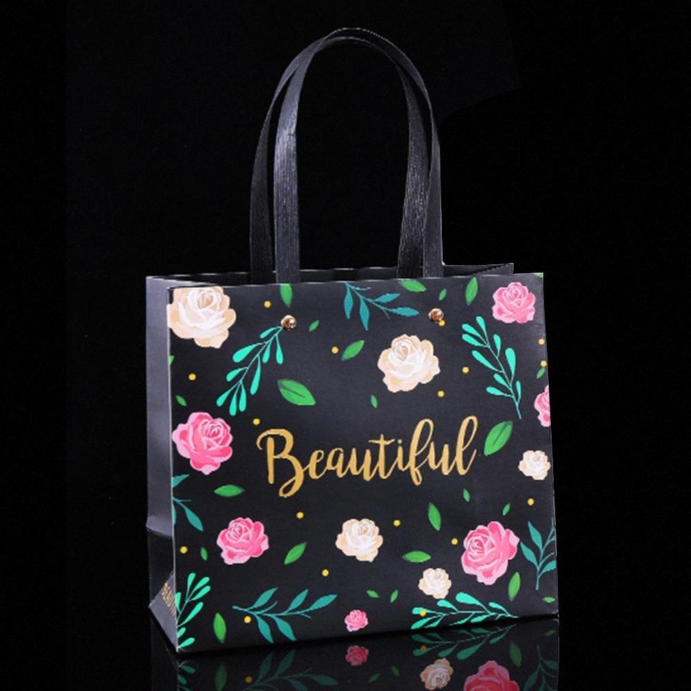 5pcs / set wapping regalo bolso de regalo mano rectangular cinturón flor estampado de vacaciones portador de vacaciones manija decorativo festival papel uh5w #