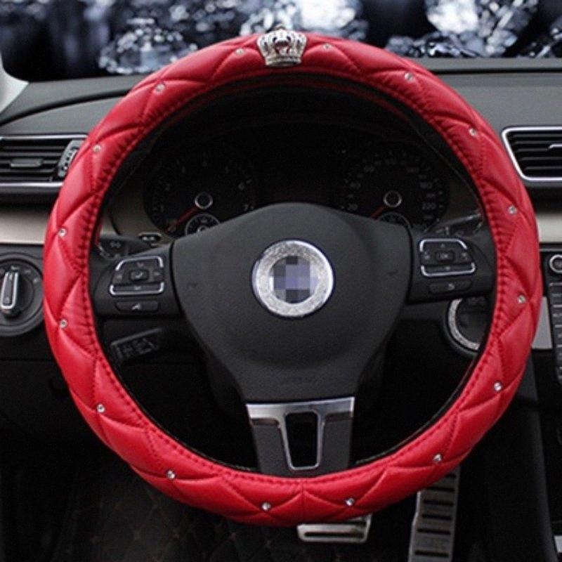 Steering Wheel car Capa 38CM Pu Couro Roda Covers de cristal cravejado de strass Four Seasons Acessórios u7Q2 #
