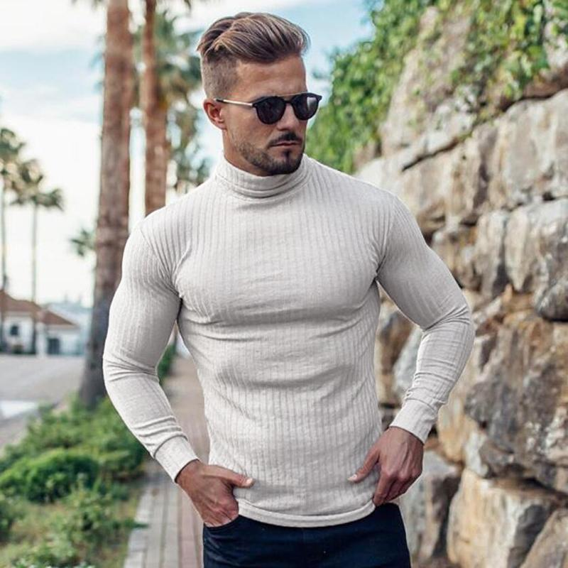 Nouveau mode Pulls à col roulé homme mince overs Automne Hiver Pull Solid Slim Fit knited Maille manches longues