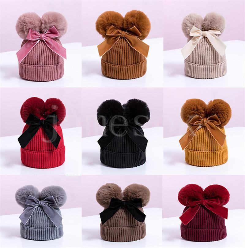 Coisas do bebê duplo chapéu de pompom inverno miúda crianças bebê menina chapéu aquecido mais espesso crianças infantil beanie bonnet casquette enfant db198
