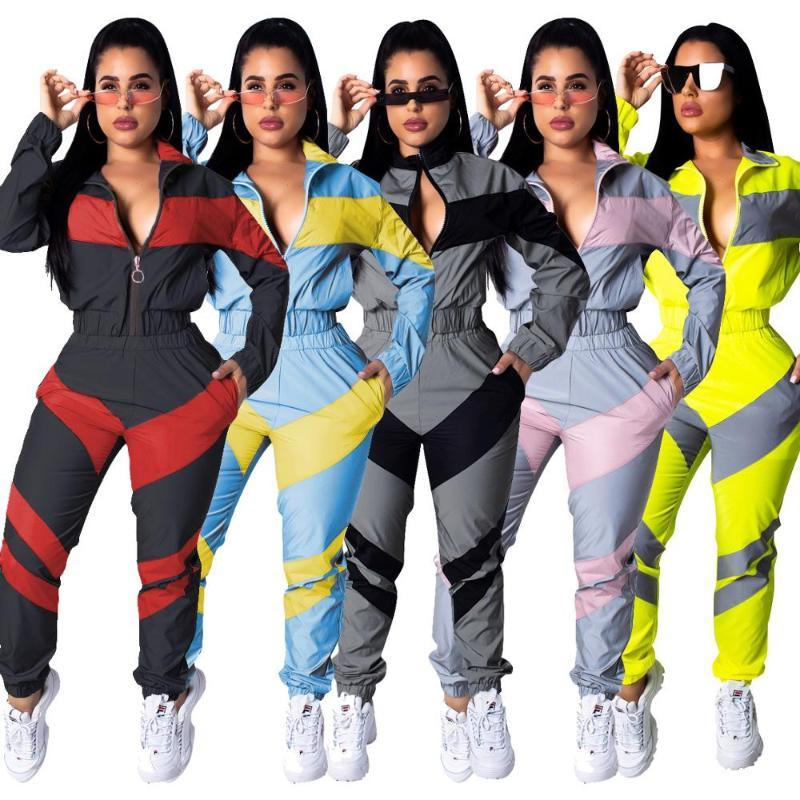 Ensembles Ensembles Femmes Reflective Gym TrackSuit Épissage à manches longues Zipper Up Fitness Top Pantalons 2 Tenues de sport Sportswear Jogging
