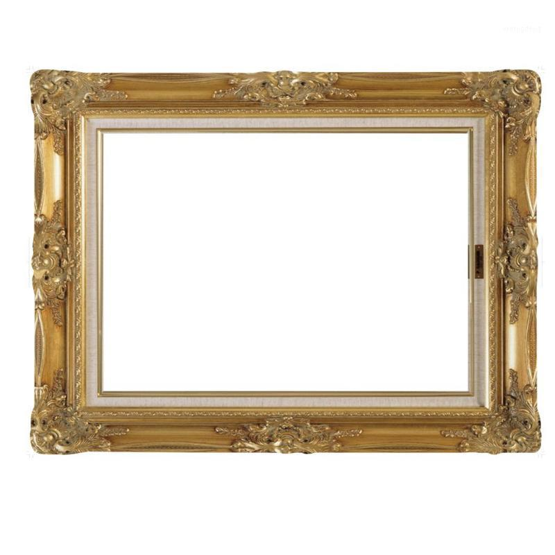 FAI DA TE Paper Picture Frame Cutoouts Antique Photo Booth Props for Wedding Birthday Party (Gold) 1