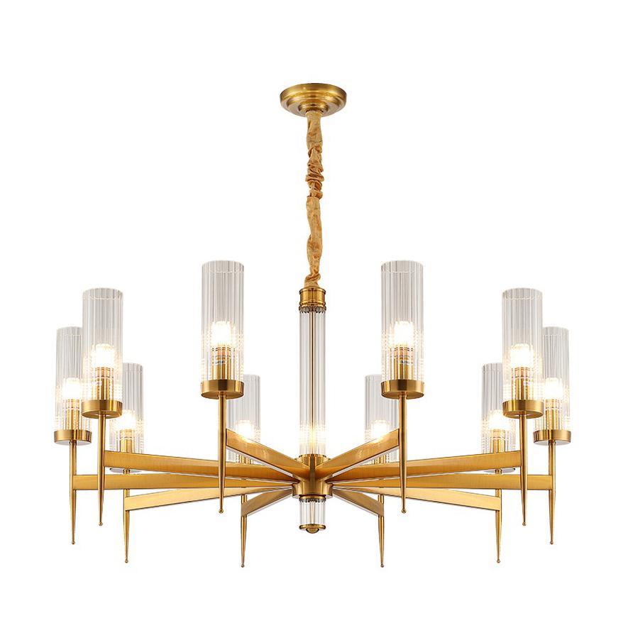 Américaine Villa RH salle à manger Edison LED E27 lampes suspendues plaque droite d'or en métal Lustre Luminarias Led Rod Lampe suspendue