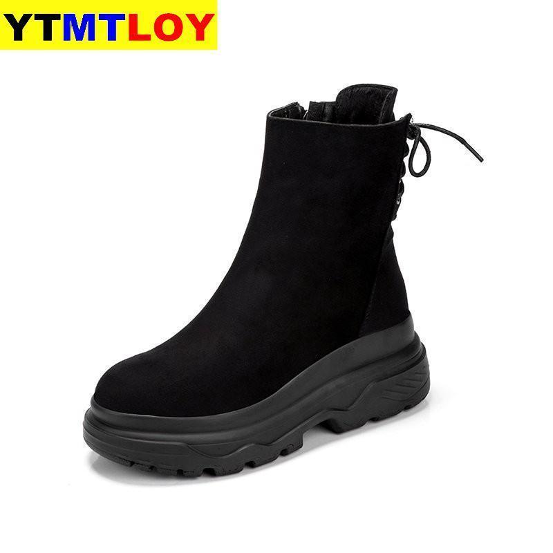 Caliente invierno nueva plataforma ocasional nieve tacón alto talón impermeable cálido pluss femenino botas cortas encaje arriba mujer algodón zapatos