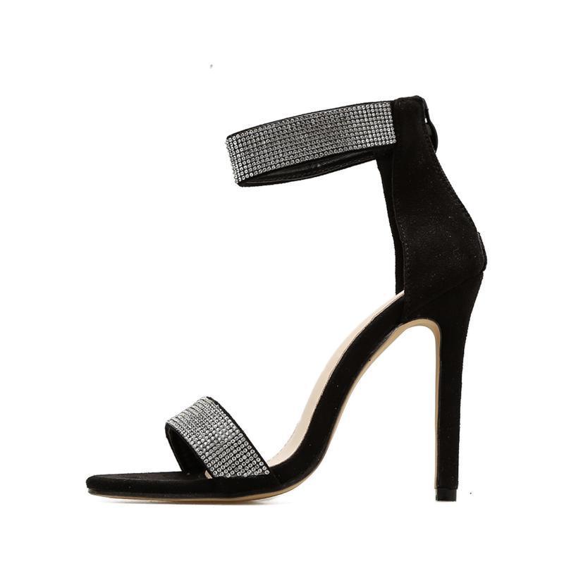 Sandalias Primavera / Verano Femenino Rhinestones Brillantes Decorado Suede Vamp Versátil Tacones Altos Tacones Dama Zapatos de Mujer Discoteca Sexy