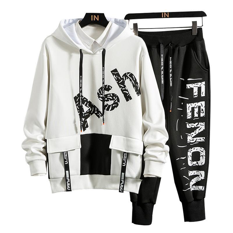 Sportswear dos homens Conjuntos 2020 Outono Primavera Hoodies Masculino Casual Tracksuit Moletom + Sweatpants Track Terno