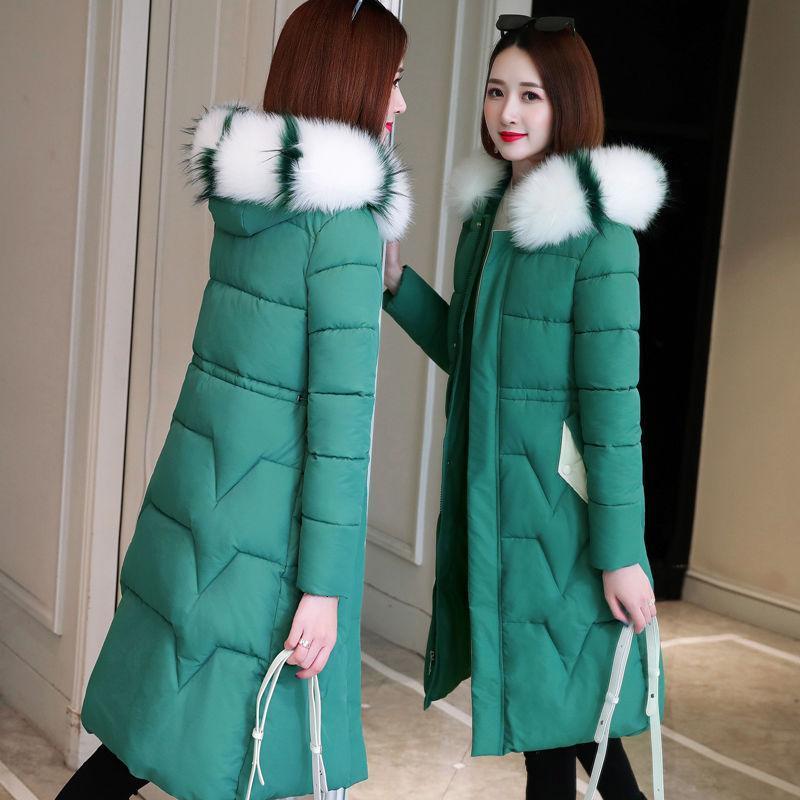 M-3XL MUJERES Parkas CHETETED Abrigo de invierno 2020 Nueva moda Patrón de onda de cuello de piel Patrón de algodón largo para mujer