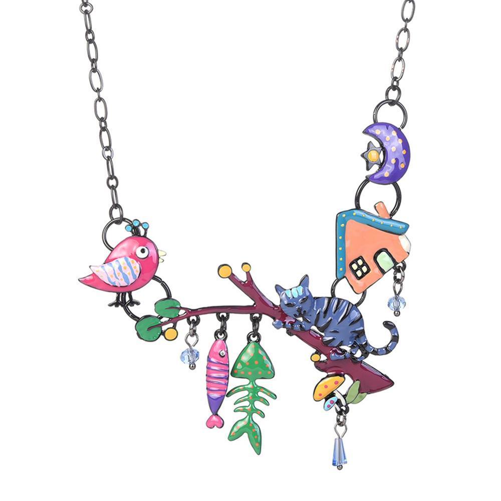 قلادة القلائد الأصفر المينا القط المعلقات لطيف الأسماك الطيور الحيوانات سبيكة سبيكة سلسلة اللباس مجوهرات للنساء سحر