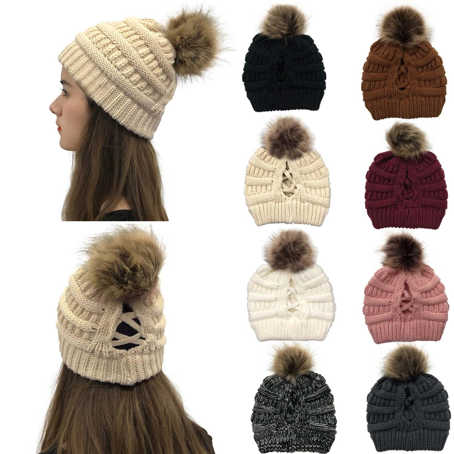 New Style Horsetail Hat Winter Warm Female Pom Pom Hat For Womens Foldable Knitted Casual Beanies Cap Thick Hat DLH489