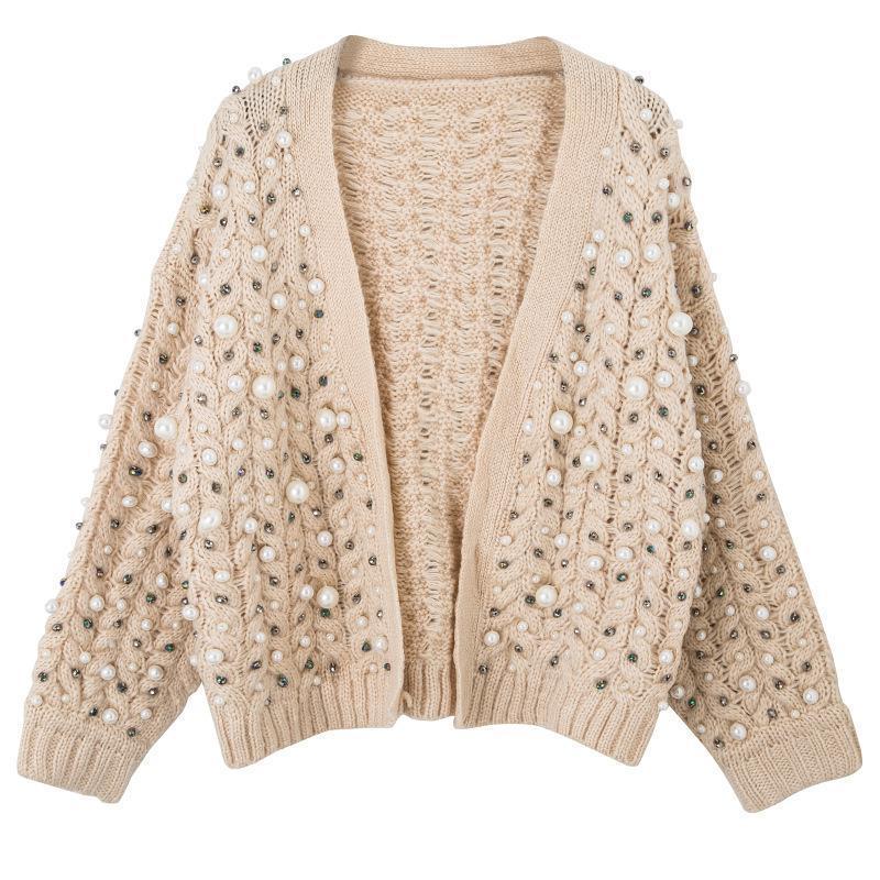 20201012 Heavy industria mano maglione perla cucita cardigan bicchierino spessore del rivestimento lungo del manicotto