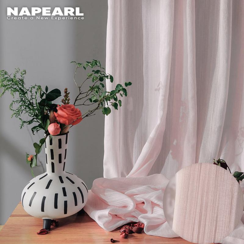 Napearl soft algodão pura cortinas para sala de estar rosa cortinas de tule para balcão de quarto todos os cortinas 150x260 painel