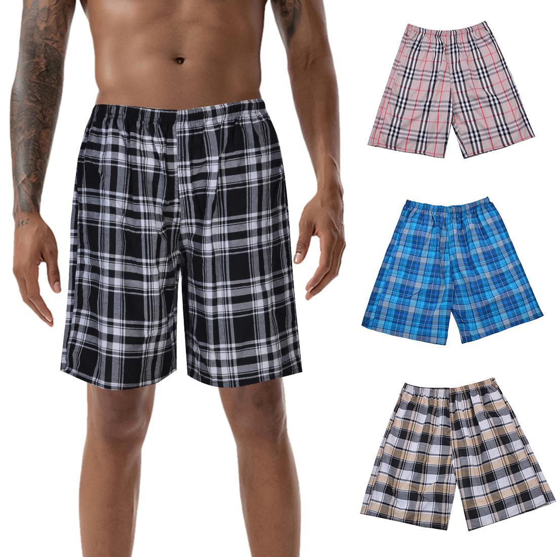 Summer Men Shorts Plaid Casual Short Pant 2020 Short Trousers Homewear Pantalon Corto Hombre Pajamas Shorts Loose Sweat Shorts