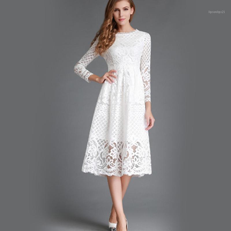 Robes décontractées Elégante Hollow Out Dentelle Robe de dentelle Femme à manches longues Automne Style Midi-mollet Blanc Printemps Vestidos1