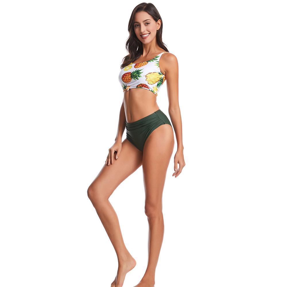 Bikini Set 2021 Nouvelles femmes maillots de bain de maillots de bain Pure Couleur push-up Maillot de bain rembourré Biquini Puits de bain Summer Beachwear