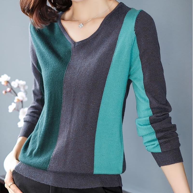 Contimes Contrast Color осень с длинным рукавом женщины свитер вязаный V-образным вырезом Высокоэластичная зимняя мода свитер женские пуловеры Y200720