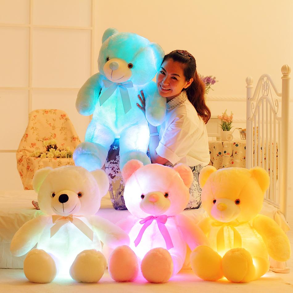 50 cm kreative beleuchtung led teddybär gefüllte tiere plüsch spielzeug bunte glühende weihnachtsgeschenk für kinder kissen 201027