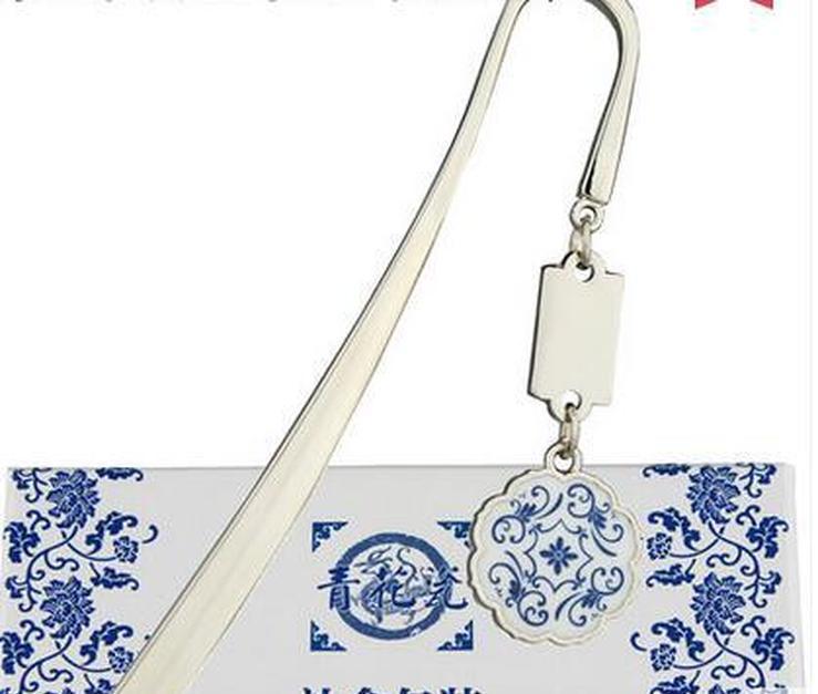 Bookmark de porcelana azul y blanca, Metal de viento chino, marcador clásico creativo, profesor de regalo, ClaseMat SQCGXJ DH_SELLER2010