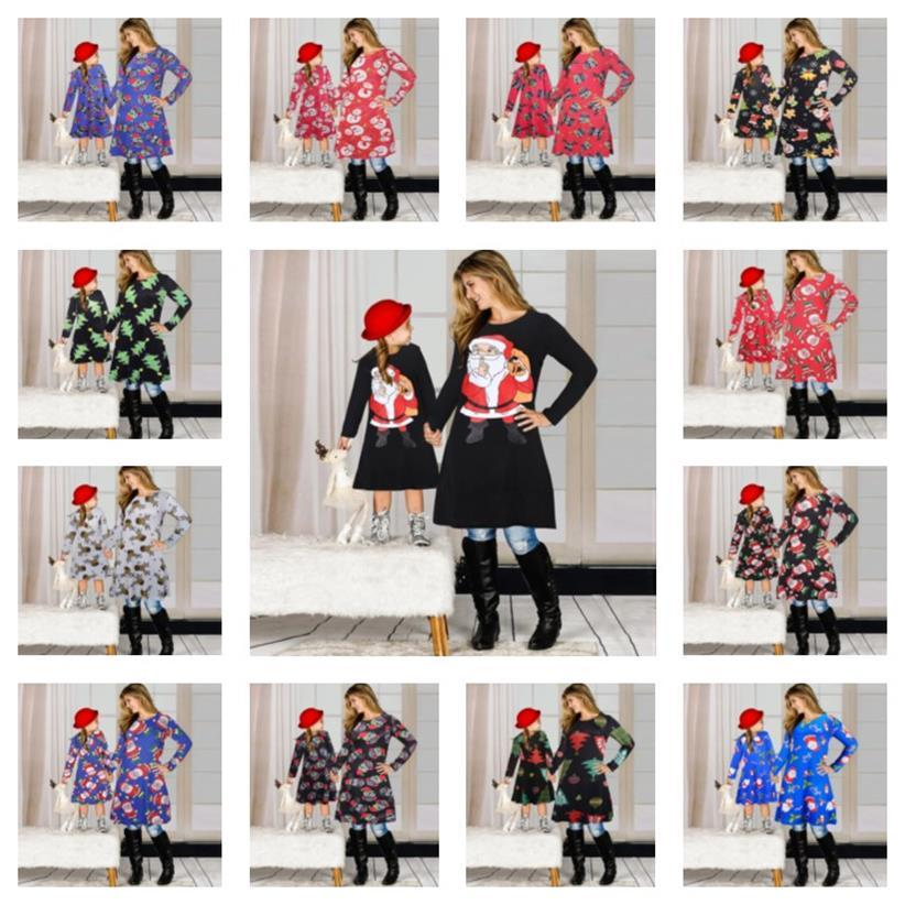 Christmas Family Matching Clothes 2020 Mother Daughter Matching Dresses Cartoon Skirt Christmas Print Parent-child Dress Outfits E101901