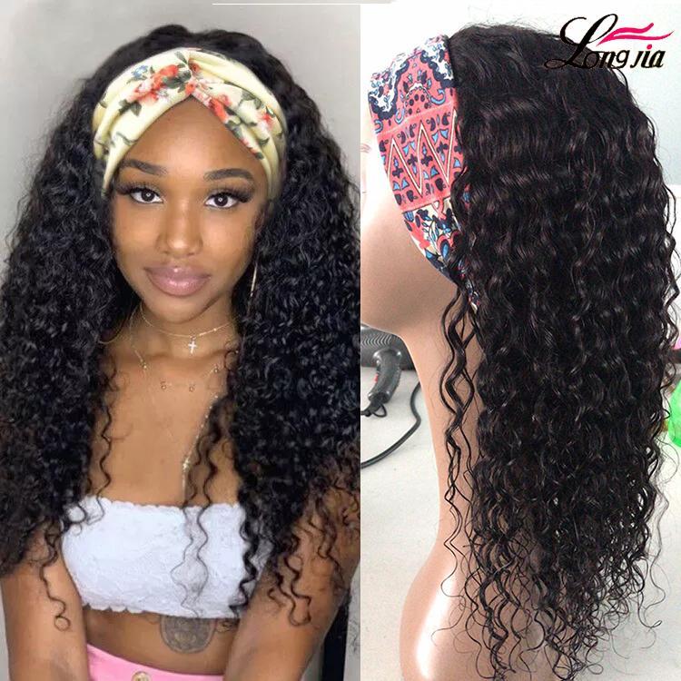 8A Stirnband Perücken brasilianische Wasserwelle Haarperücken 150% Dichte Natur Farbe brasilianische lockige menschliches Haar Perücken