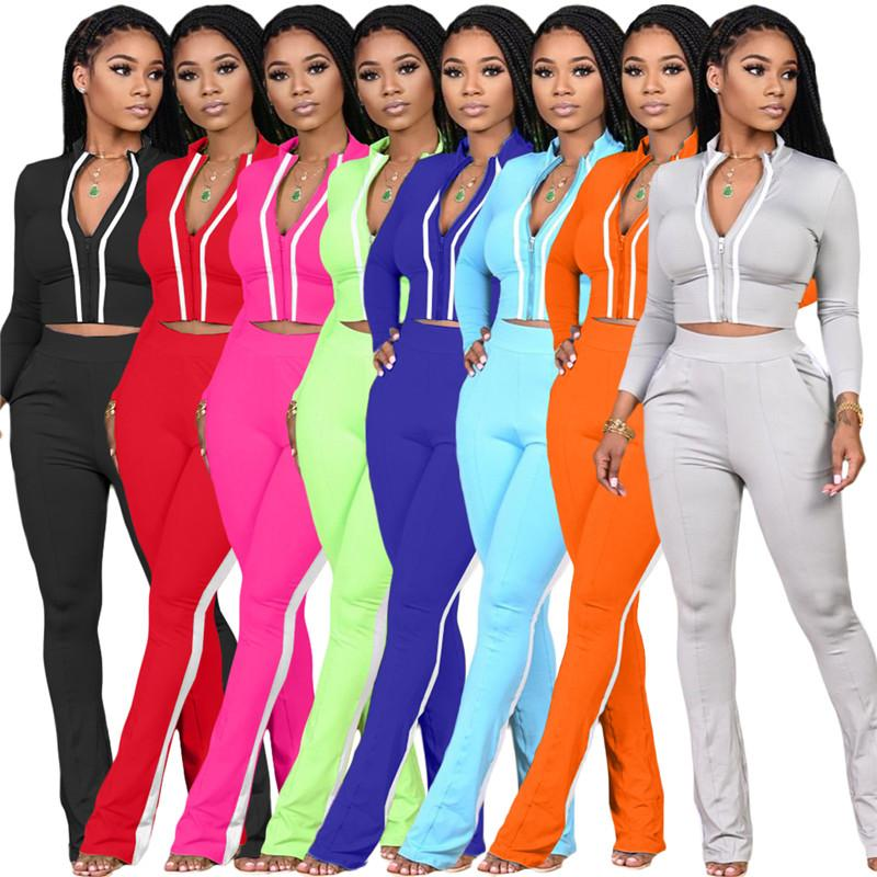 women designer jackets two piece set outfits long sleeve tracksuit jacket pants sportswear panelled outerwear tights sports set hot klw5165