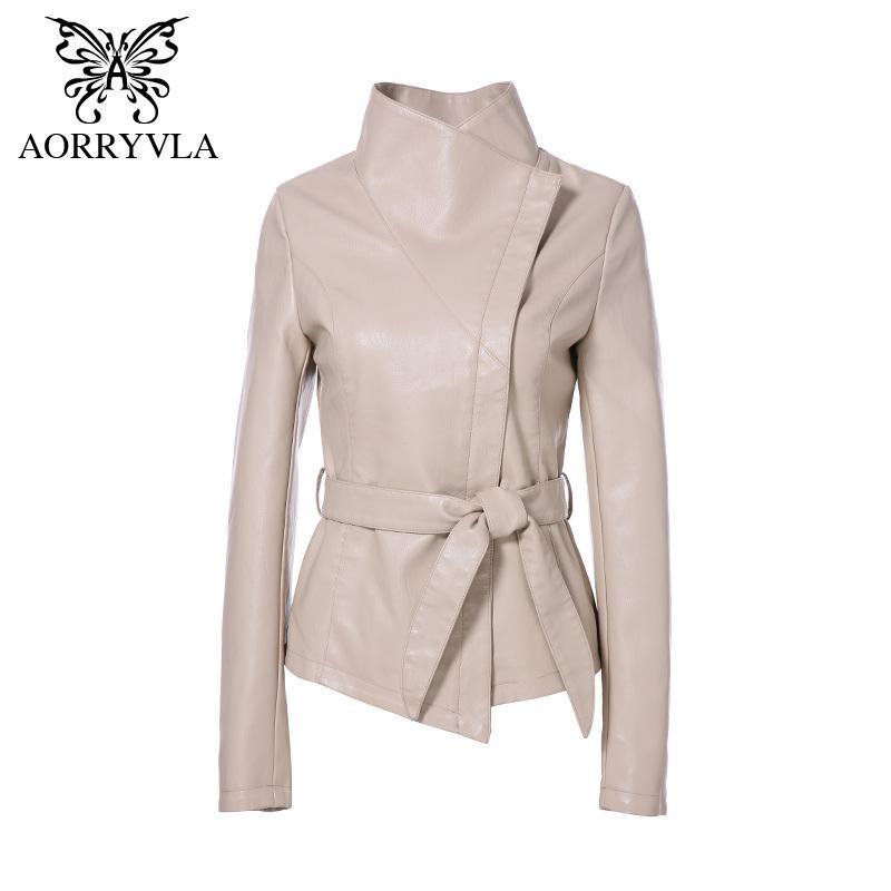 AORRYVLA Yeni Bahar Kadınlar Deri Ceket Kırmızı renk açma-Aşağı Yaka Kısa Boyu İnce Stil Moda Sahte Deri Ceket 201016