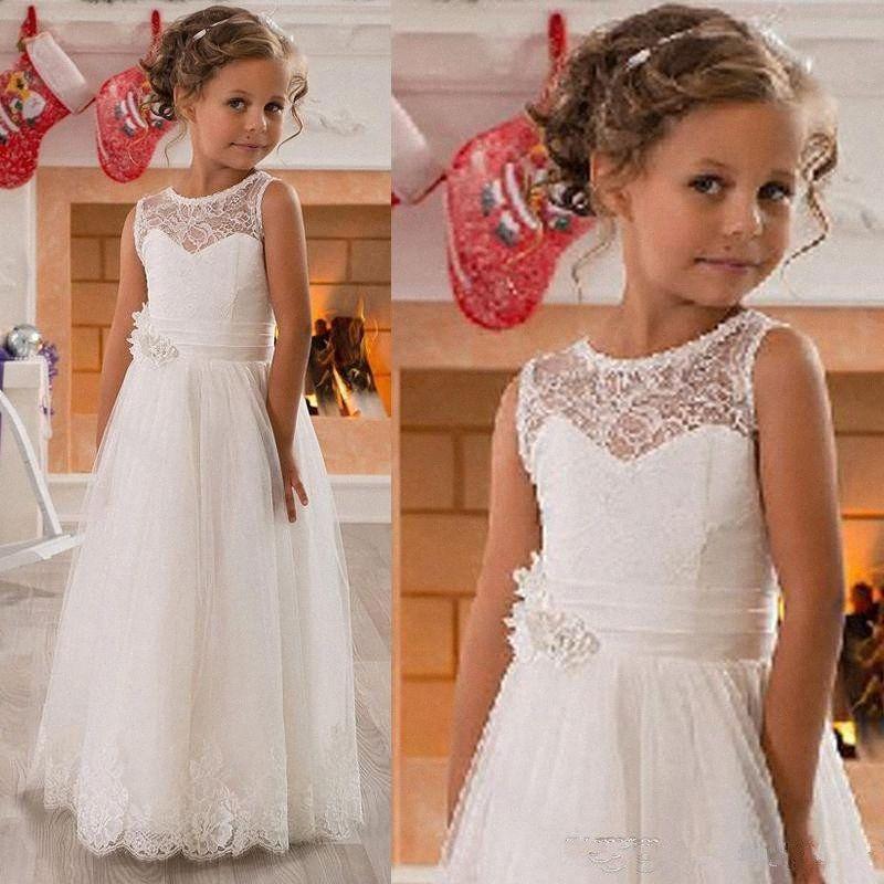 Jewel Flower Girl Lace Vestidos pescoço lindo Appliqued Tulle Vestidos Pageant do vintage com a princesa da festa de casamento Crianças Sash vestido URb3 #
