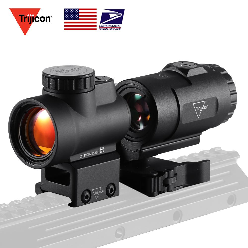 Trijicon MRO Red Dot Sight 3x 콤보 AR 전술적 광섬유 범위가 낮고 울트라 하이 QD 마운트 20mm 트리 존 사냥