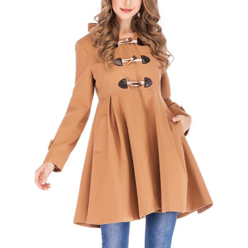 Kadınlar Kış Ceket Bayan Horn Toka Ceket Sıcak Sahte Splice Fermuar Kapşonlu Coat Ceket Dış Giyim Oversize WINDBREAKER