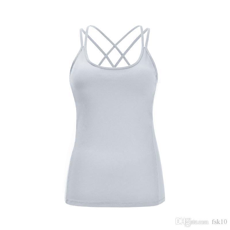 Женщины Йога Фитнеса Рубашка без рукавов Breathabless SPORTWEAR Фронтлайн Cross Gym Сыпучей Одежда Женщина Бег Быстрого сухих футболок