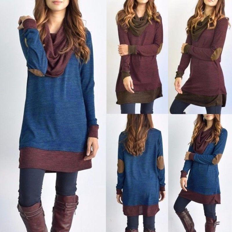 2021 Neue Frauen Langarm Patchwork Pullover Ellbogen Patches Cowl Hals Femme Langes Tops Casual Frühling Herbst Bluse Hemden Thin