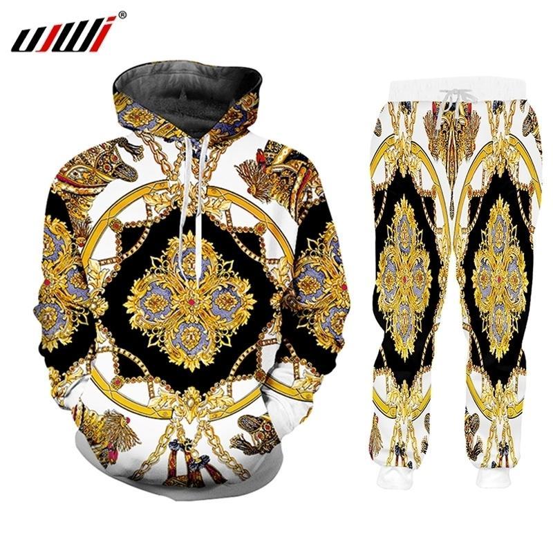 UJWi Lüks Altın 3D Baskı erkek Kış Ceketler Takım Elbise Spor Düğmesi T-shirt Pantolon 2 Parça Kıyafetler Eşofman Erkekler / Kadınlar Set 201207