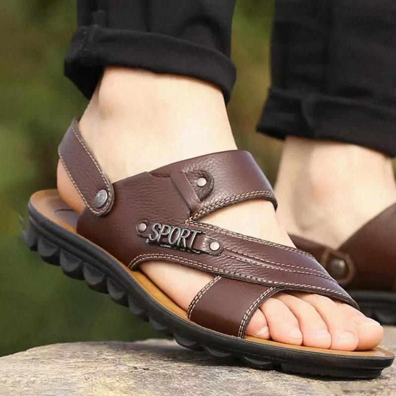 Casual sandals men shoes summer 2020 comfortable metal decoration solid new slippers genuine leather fashion shoes men sandals #XP0r