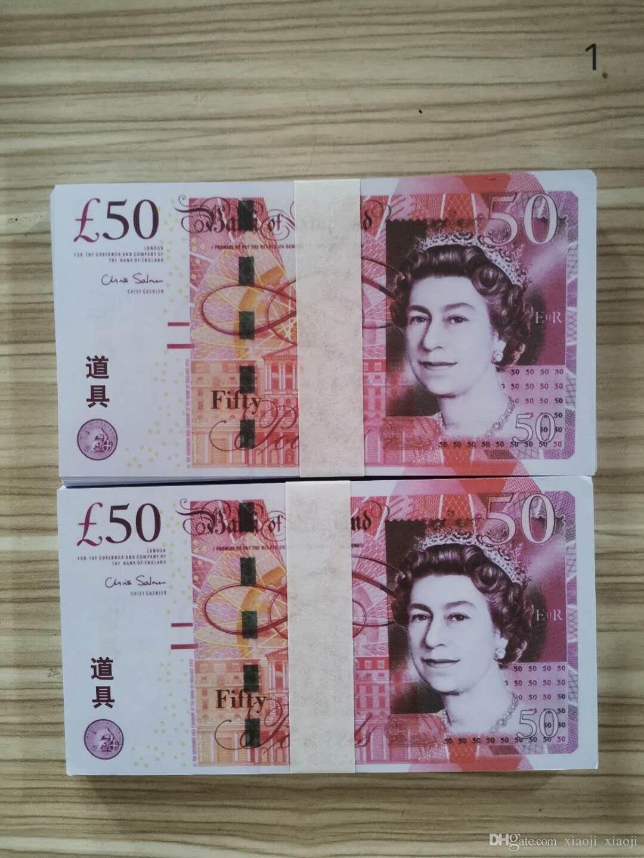 50 Pfund Pfund Requisite-Prop-Prop-Geld Euro Most UK 23 Requisiten Realistische Münze Beste Money-Dollar-Filmgeld 100pcs / Pack-Bar BRKGI