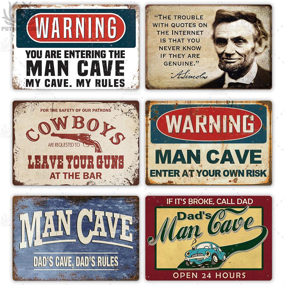 2021 drôle homme grotte signe vintage métal signe métal vintage vintage panneau d'étain rétro panneau mur pour homme cave bar PUB garage assiette décorative