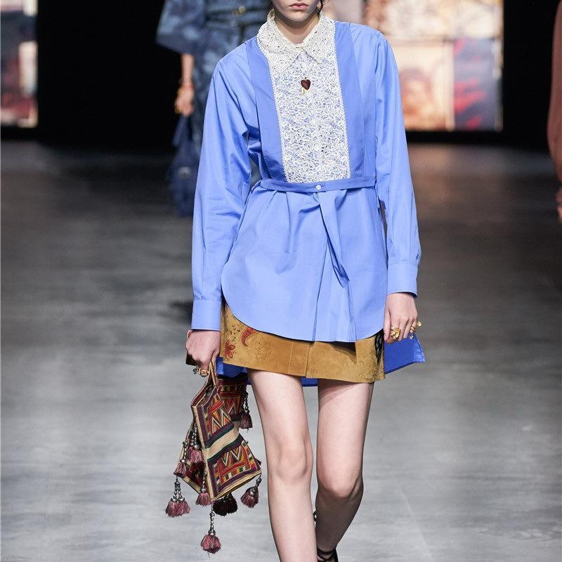 Robe asymétrique pour femmes 2021 Fashion Nouvelle-Dame et robe de piste de la petite fille en coton et dentelle habillées