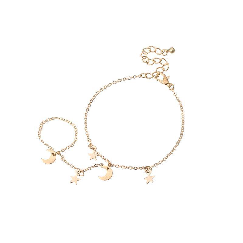 Monili della catena della catena del braccialetto della stella della doppia del doppio dito della doppia del doppio del doppio dito per le donne degli uomini ornamenti della decorazione della mano