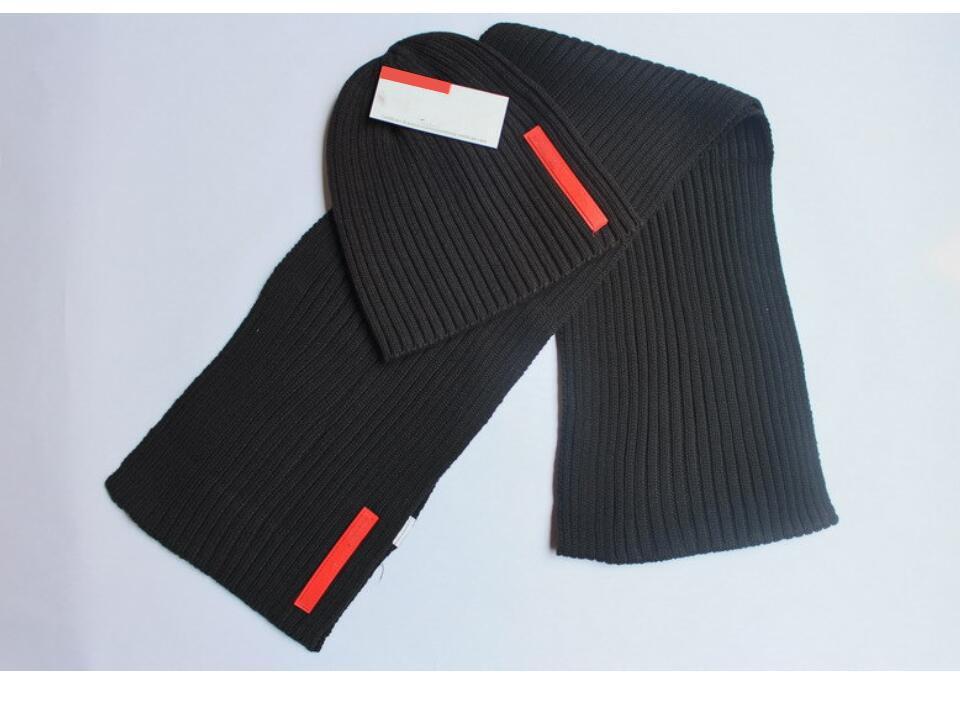 1set Herbst Winter Mann Beanie klassische Kappe schwarz Strickmütze + Schal zweiteilige warmer Schal Strickmütze Frau Knitting Hut Unisex warme Mütze Kühle